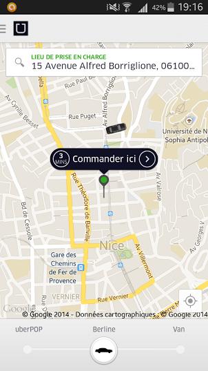 réserver UBER VTC Nice Côte d'Azur Taxi
