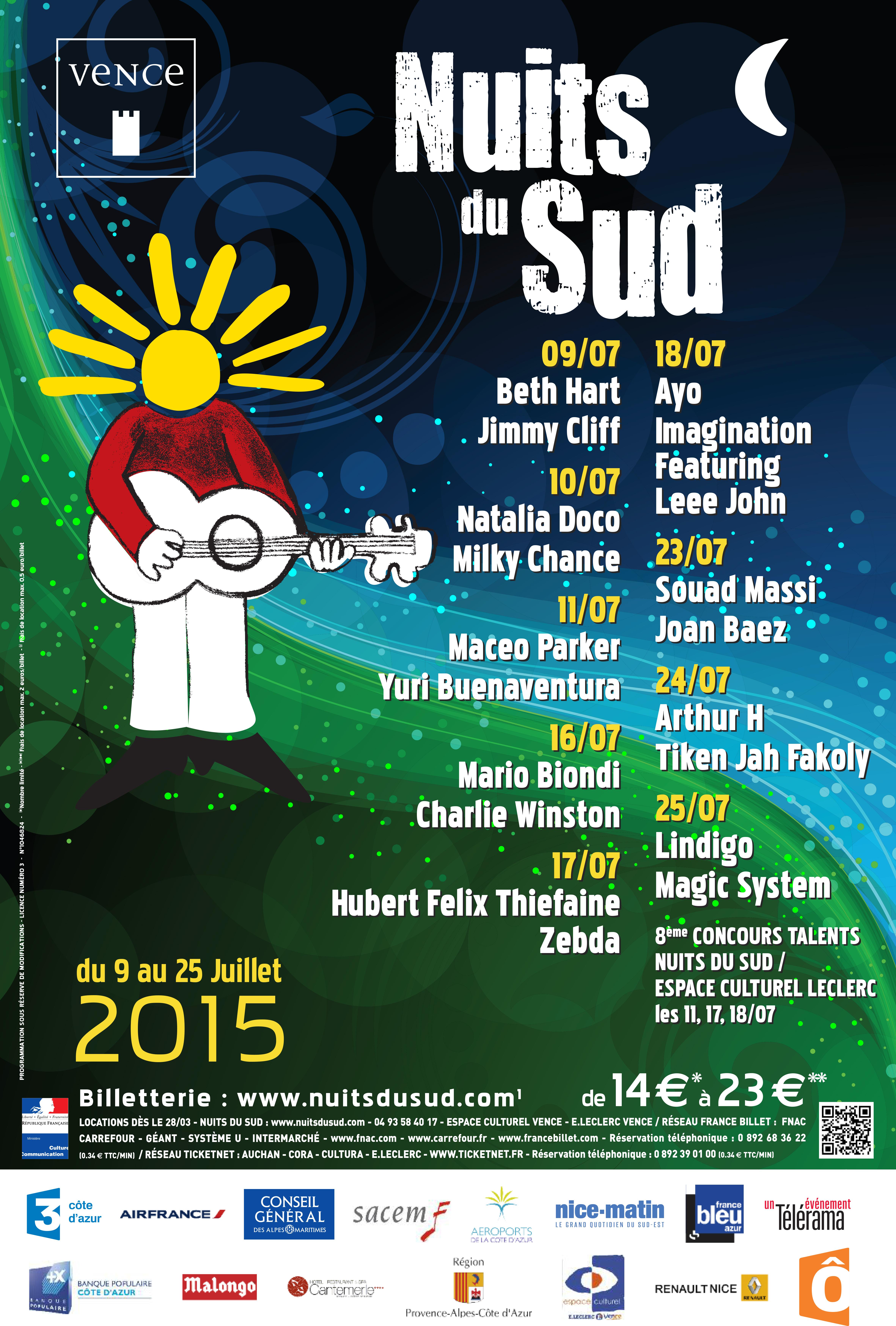 affiche nuits du sud vence 2015