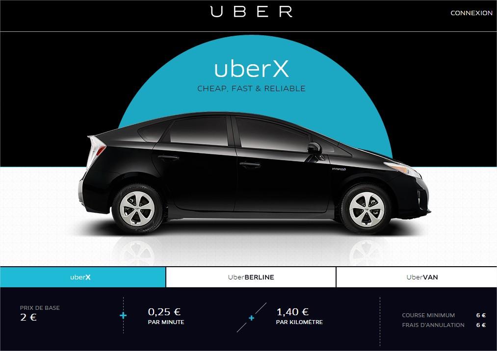 uber x nice prix voiture
