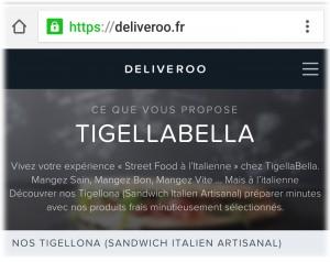 livraison sandwich Tigella Bella Nice Deliveroo
